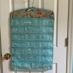 Hanging Blue and Floral Jewelry Organizer